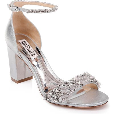 Badgley Mischka Finesse Embellished Ankle Strap Sandal- Metallic