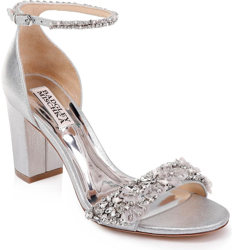 BADGLEY MISCHKA COLLECTION Badgley Mischka Finesse Embellished Ankle Strap Sandal, Main, color, SILVER METALLIC LEATHER