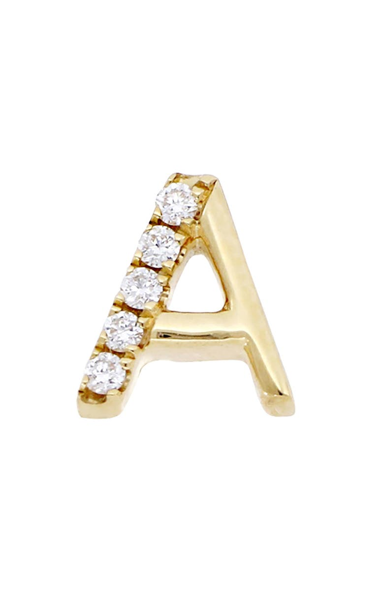 BONY LEVY Single Diamond Initial Single Stud Earring, Main, color, YELLOW GOLD- A