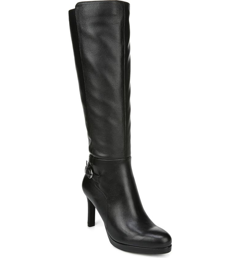 NATURALIZER Tai Knee High Boot, Main, color, BLACK LEATHER