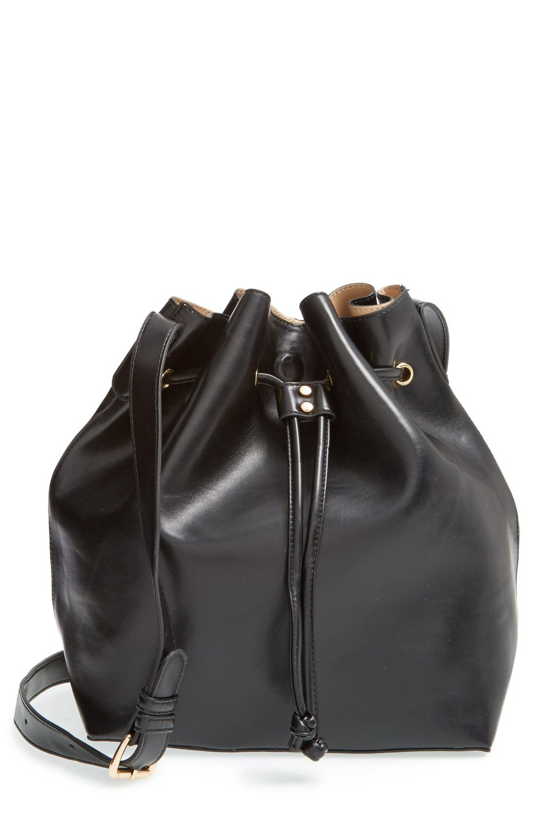 ,                             'Nevin' Faux Leather Drawstring Bucket Bag,                             Main thumbnail 5, color,                             001