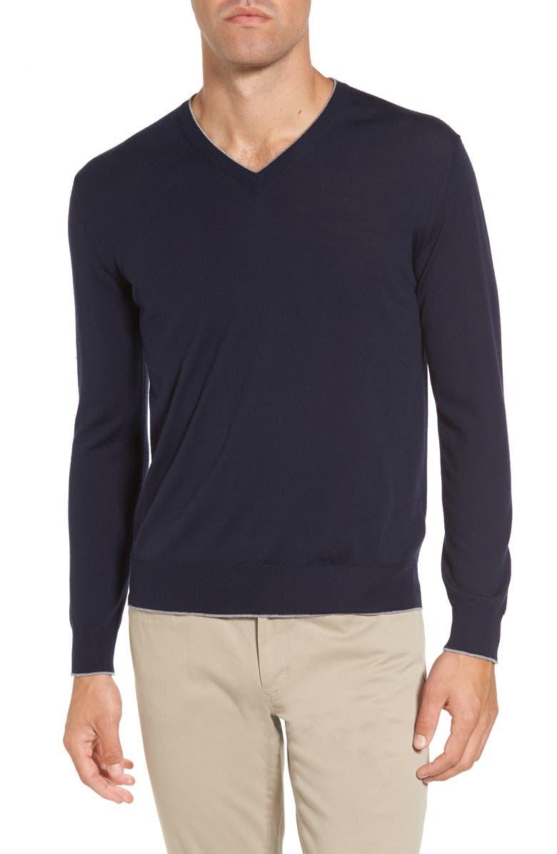 ELEVENTY Merino Wool & Silk Tipped Sweater, Main, color, NAVY
