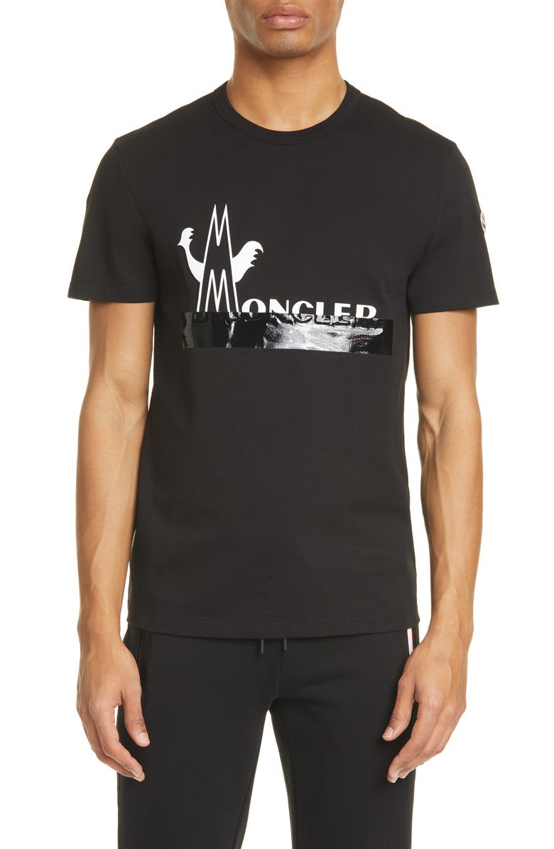 MONCLER Duct Tape Logo Graphic Tee, Main, color, BLACK