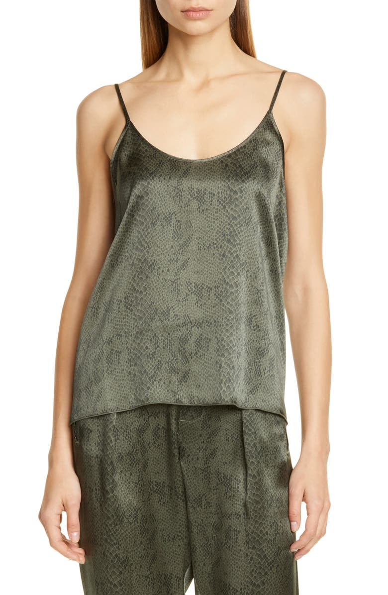 ATM ANTHONY THOMAS MELILLO Snake Print Silk Camisole, Main, color, JUNGLE COMBO
