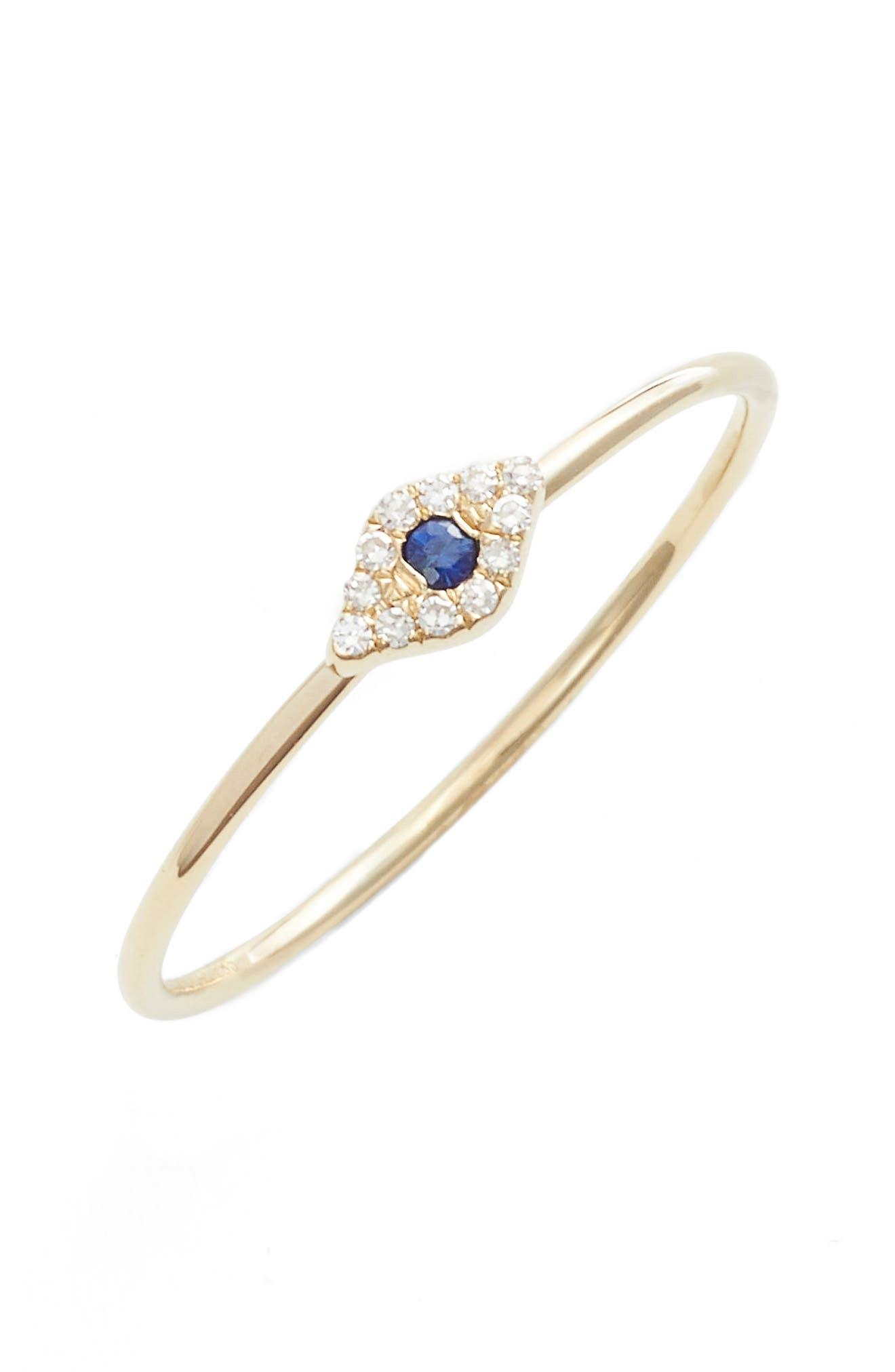 Evil Eye Diamond & Sapphire Stack Ring