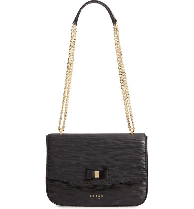 TED BAKER LONDON Danieel Bow Leather Crossbody Bag, Main, color, 001