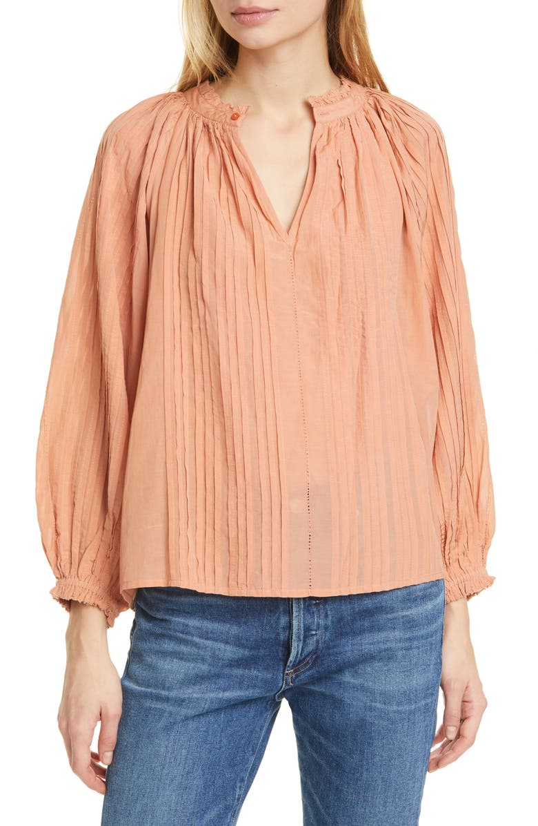 THE GREAT. The Lyric Pintuck Cotton Blend Blouse, Main, color, 838