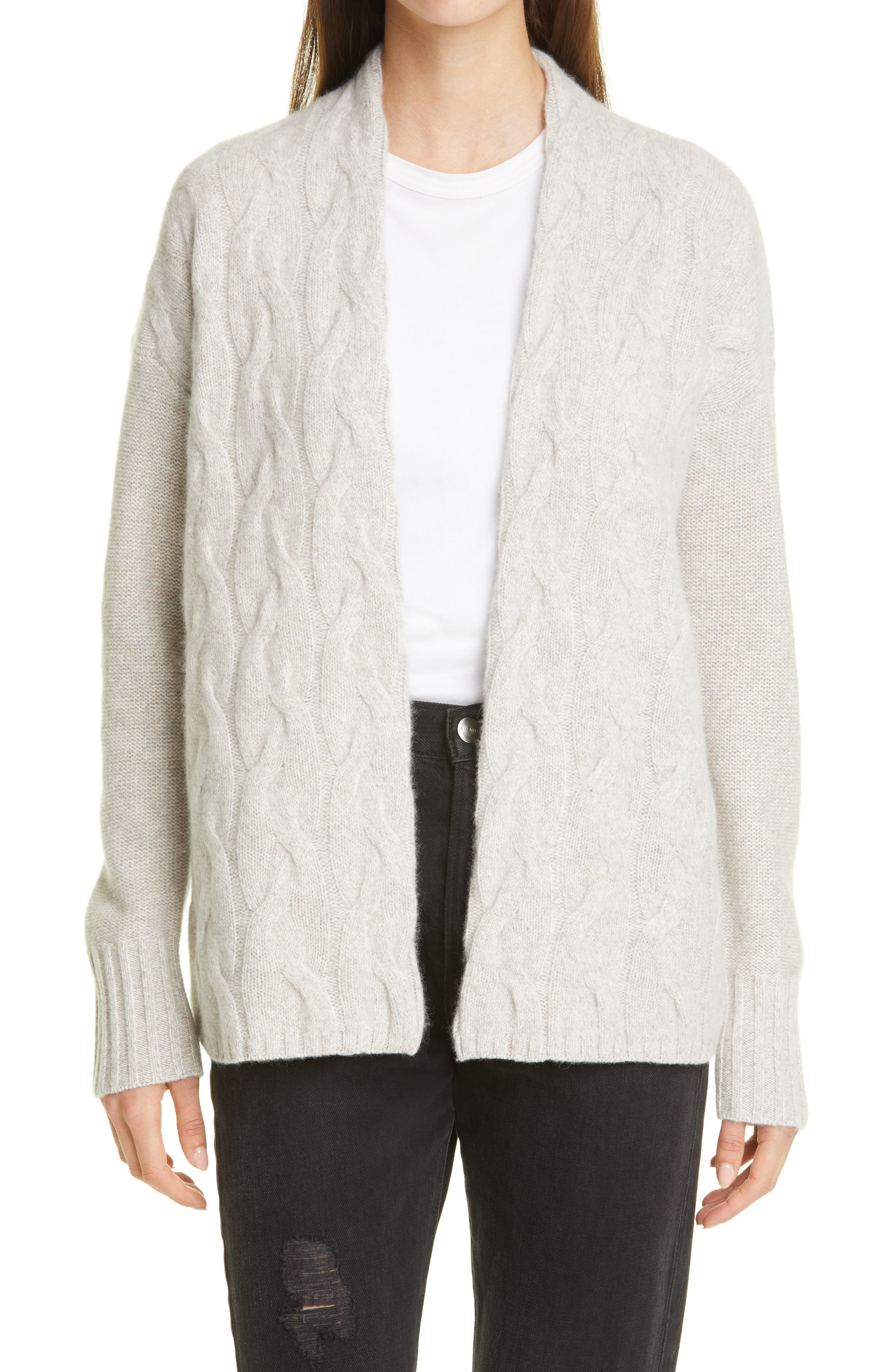 Image of Nordstrom Signature Nordstrom Cable Knit Cashmere Cardigan