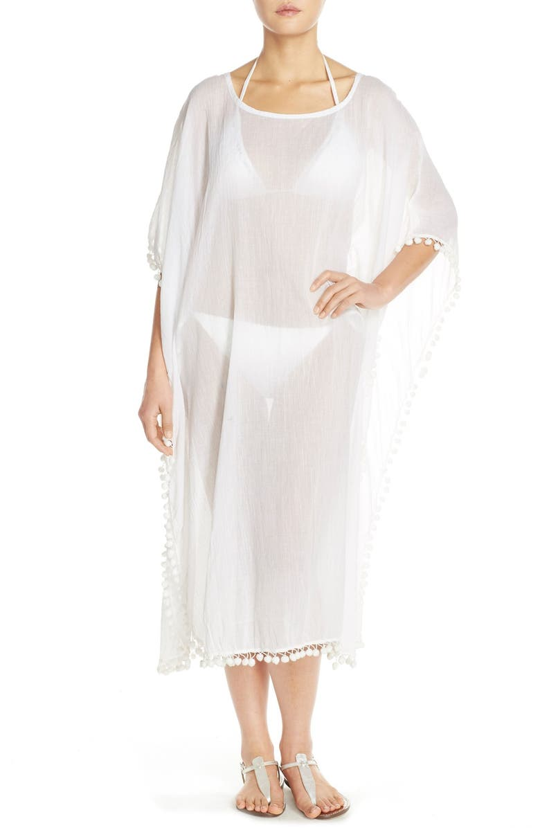 ELAN Linen Cover-Up Caftan, Main, color, 100