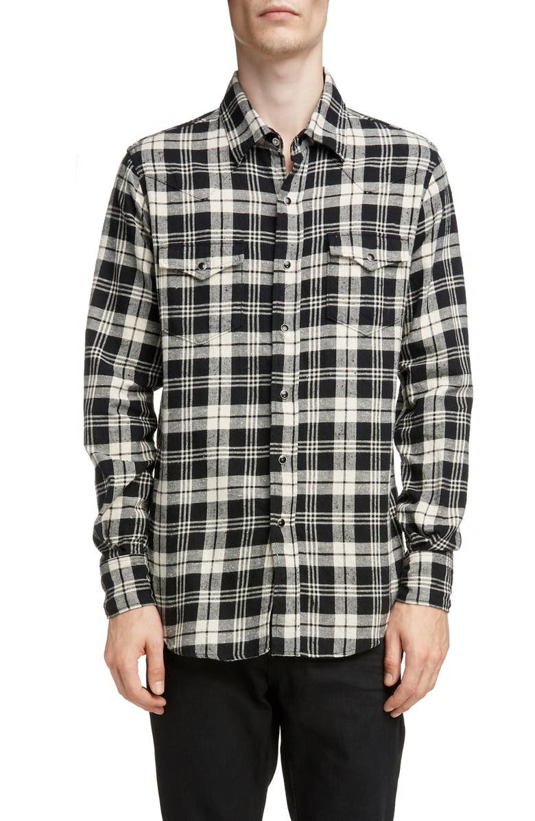SAINT LAURENT Plaid Twill Western Shirt, Main, color, BLACK WHITE CHECK