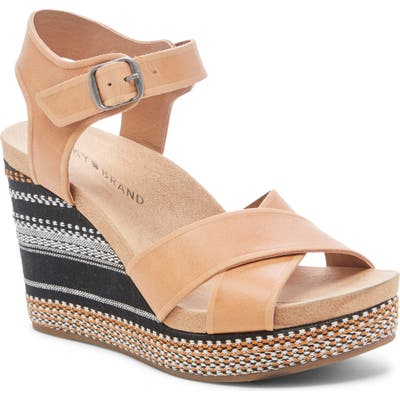 Lucky Brand Yarosan Platform Wedge Sandal- Brown