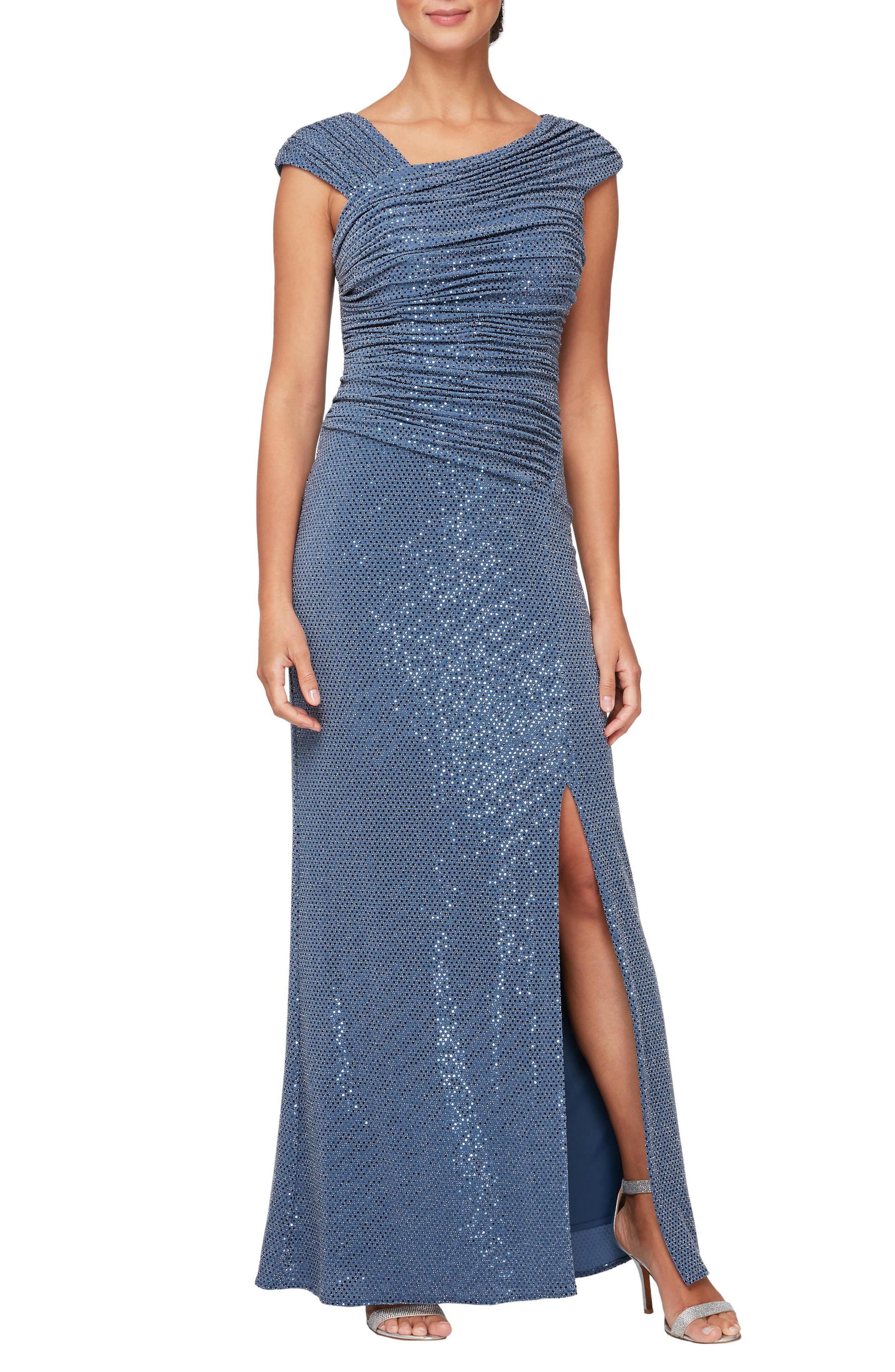 Sequin Ruched Neck Sparkle Knit Gown