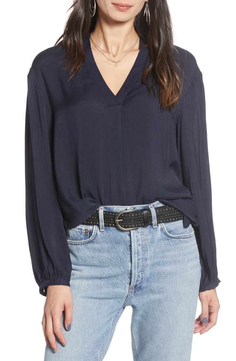 TREASURE & BOND Shadow Stripe Popover Top, Main, color, NAVY NIGHT