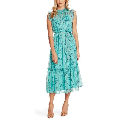 Cece Wisteria Vines Sleeveless Dress, Blue/green