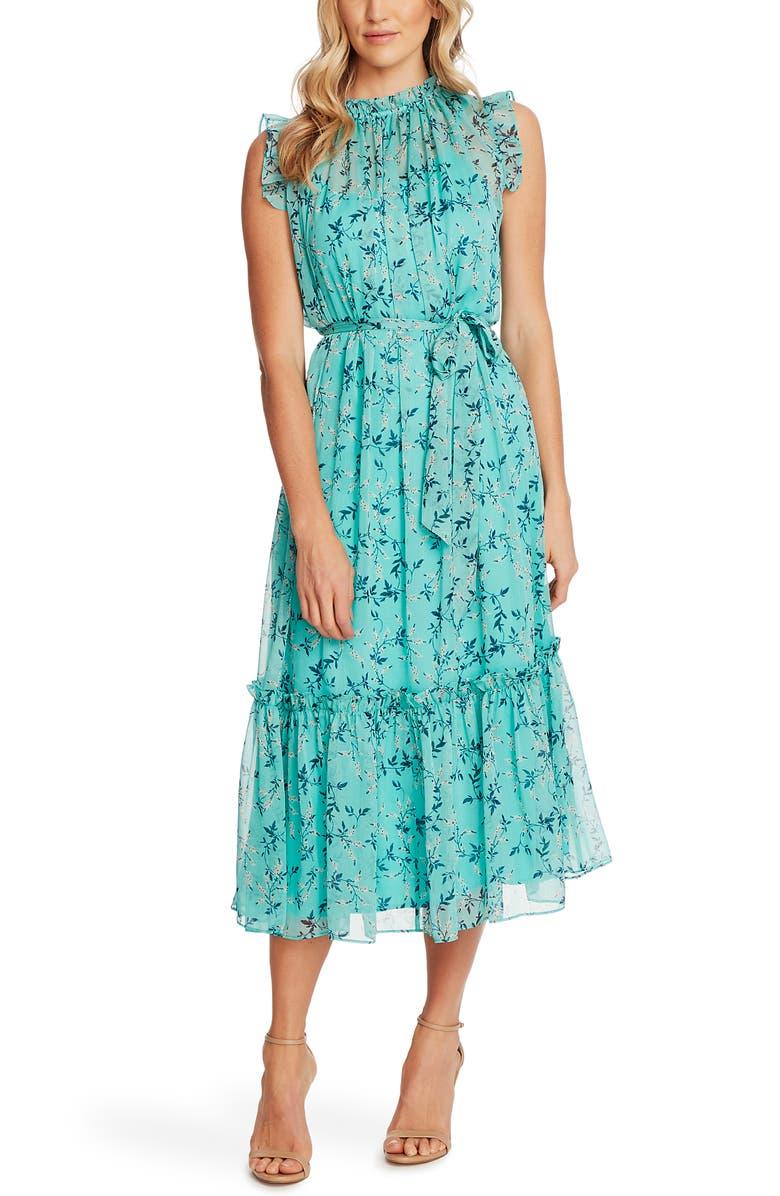 CECE Wisteria Vines Sleeveless Dress, Main, color, TEAL POP