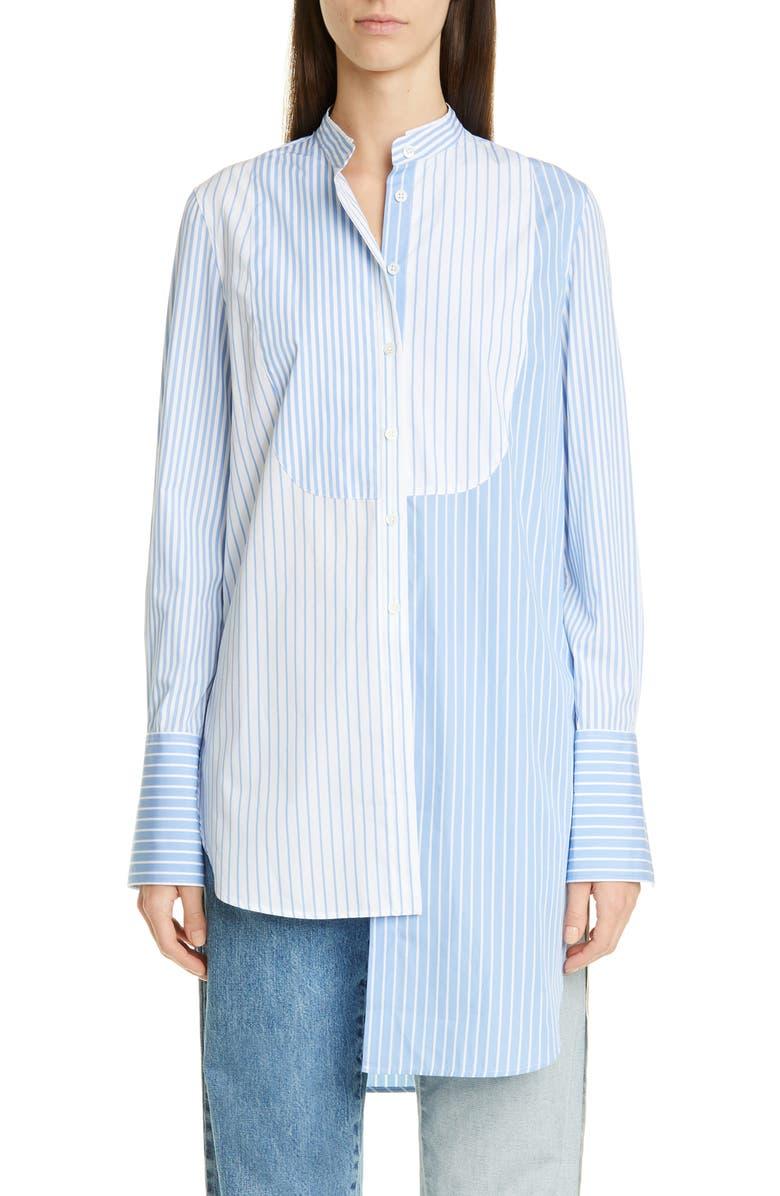 MONSE Mixed Stripe Asymmetrical Shirt, Main, color, SKY BLUE/ WHITE