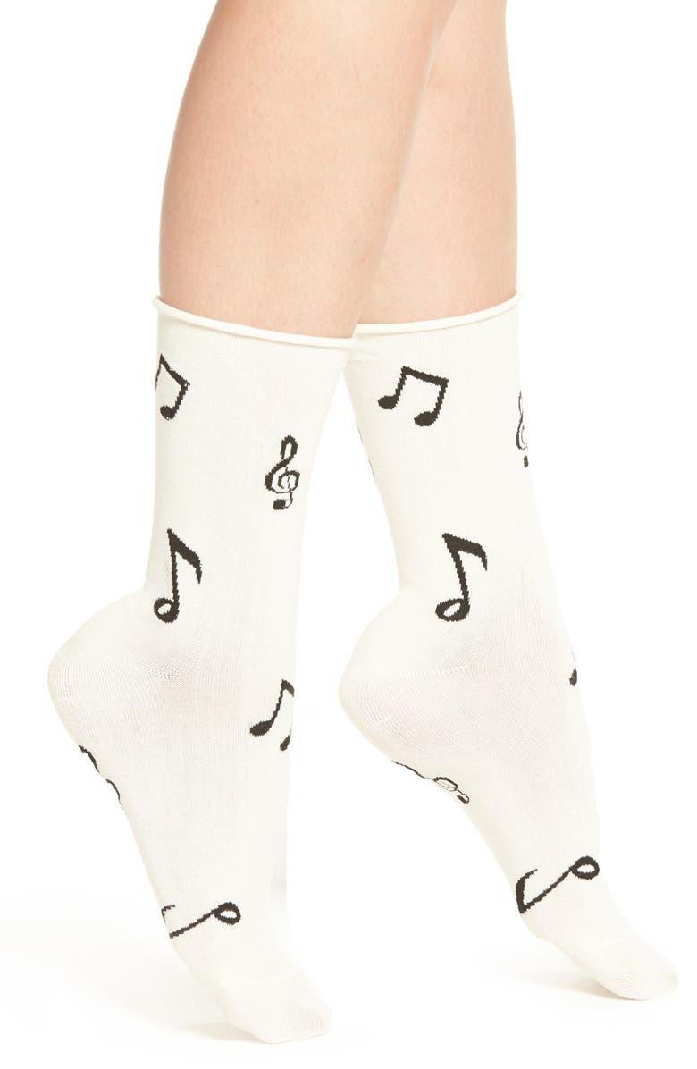 KATE SPADE NEW YORK music note pattern crew socks, Main, color, 270