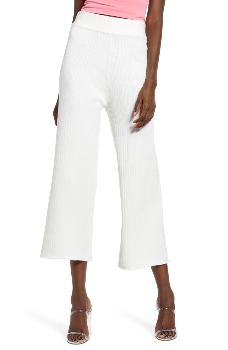 ENGLISH FACTORY Ribbed Knit Crop Wide Leg Pants, Main, color, WHITE