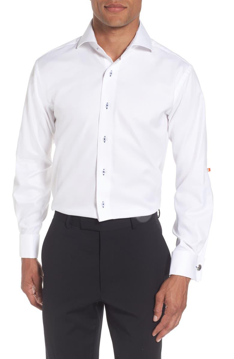 LORENZO UOMO Trim Fit Solid Dress Shirt, Main, color, 100