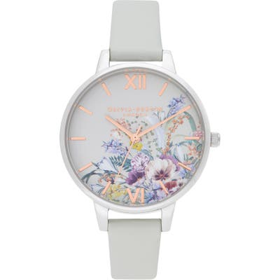 Olivia Burton Enchanted Garden Faux Leather Strap Watch,
