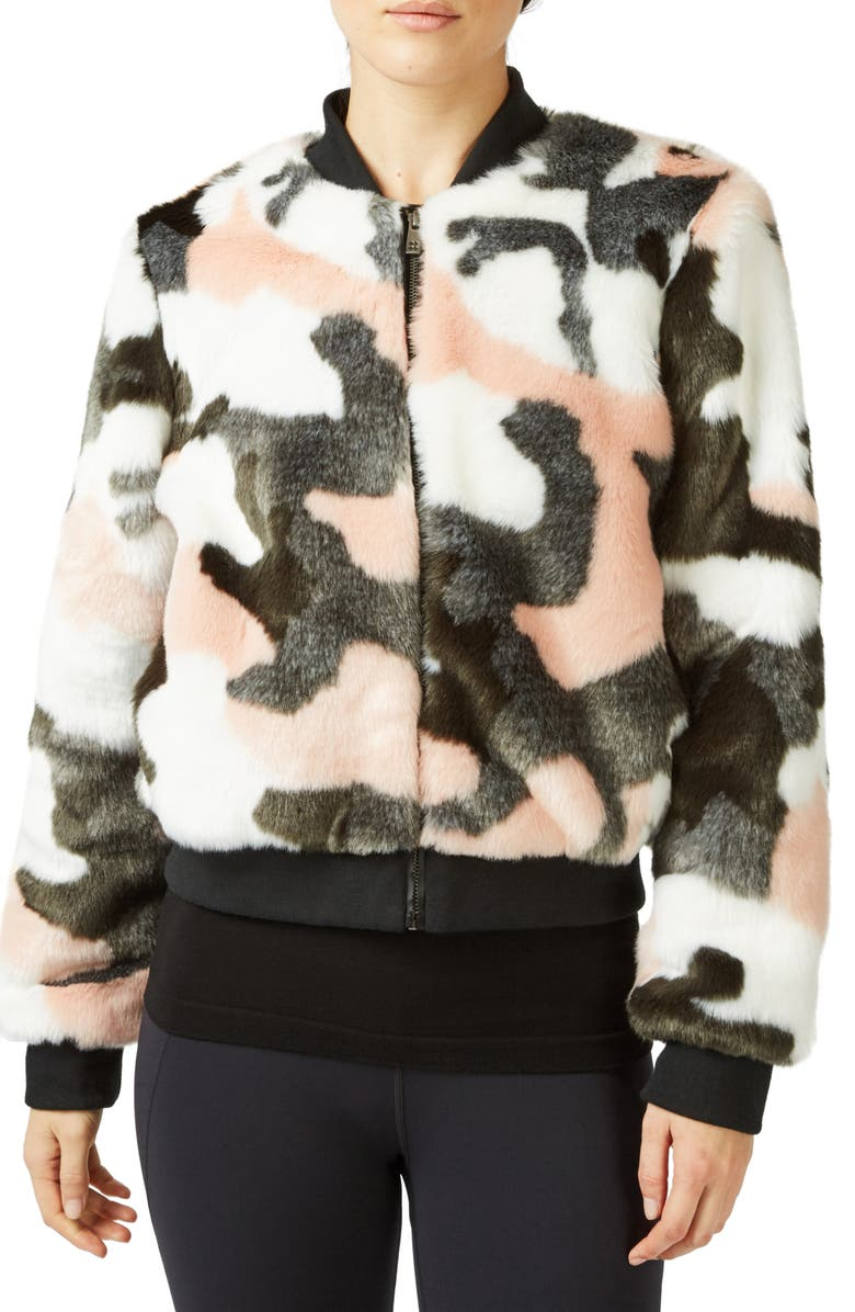 SWEATY BETTY Malabar Camo Faux Fur Bomber Jacket, Main, color, DARK FOREST GREEN CAMO PRINT