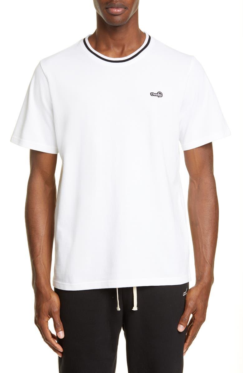 OVADIA & SONS Crewneck Piqué T-Shirt, Main, color, WHITE/ BLACK