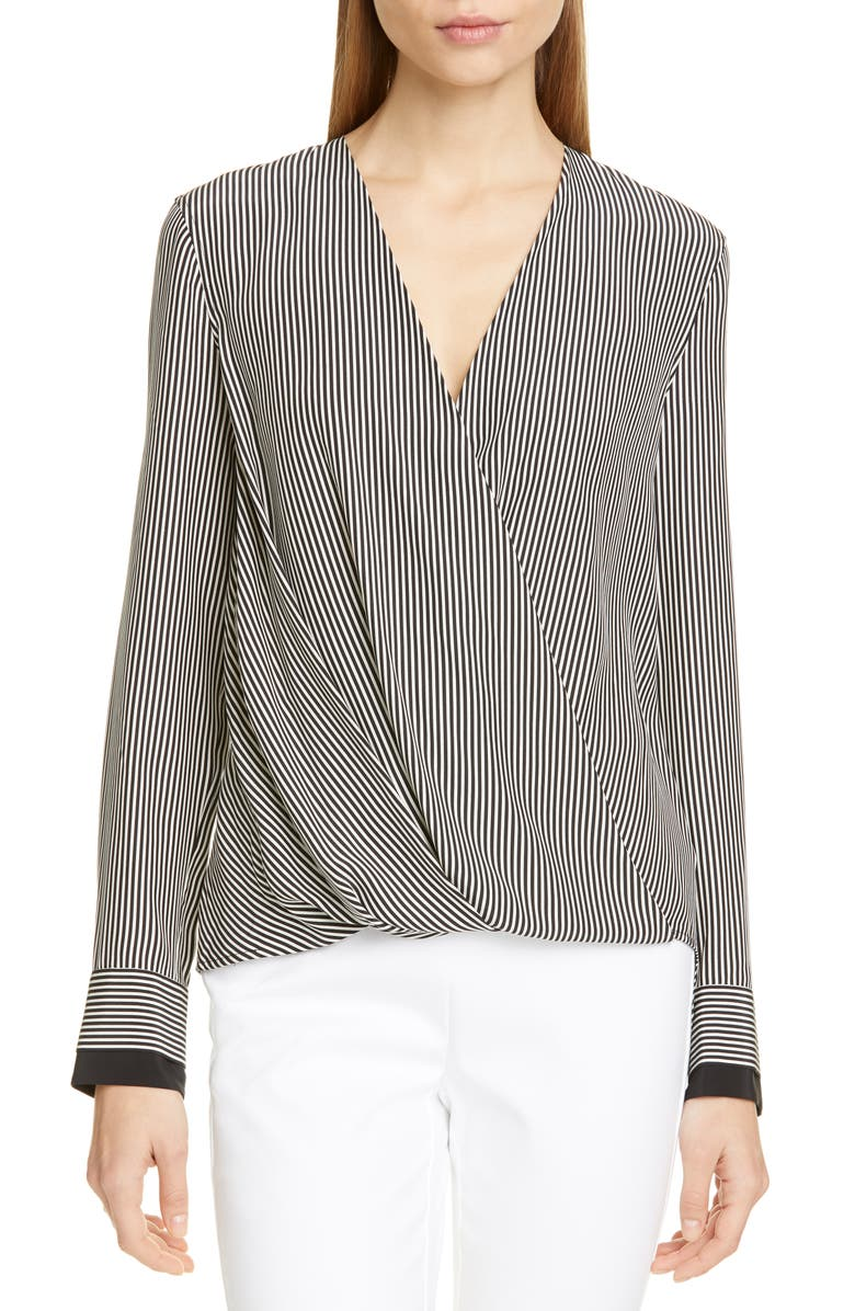 RAG & BONE Victor Stripe Silk Blouse, Main, color, WHITE BLACK STRIPE