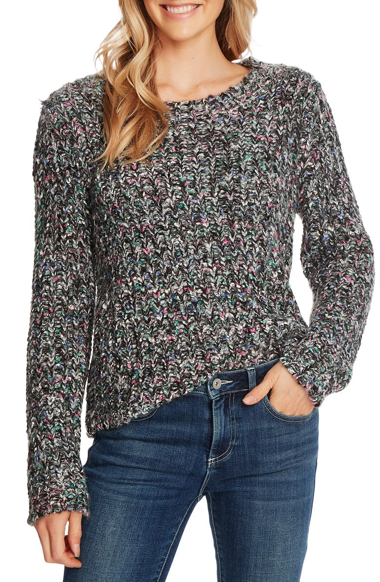 CECE Color Flecked Marled Sweater, Main, color, RICH BLACK