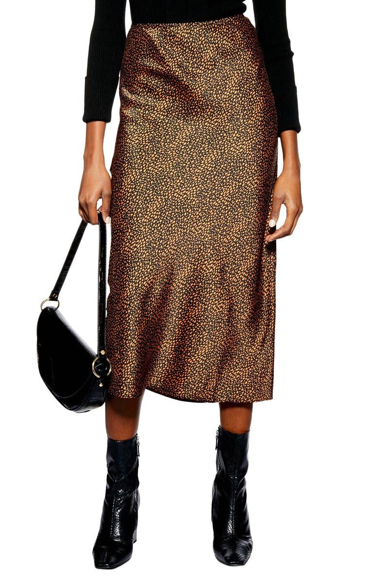 TOPSHOP Animal Spot Midi Skirt, Main, color, 220