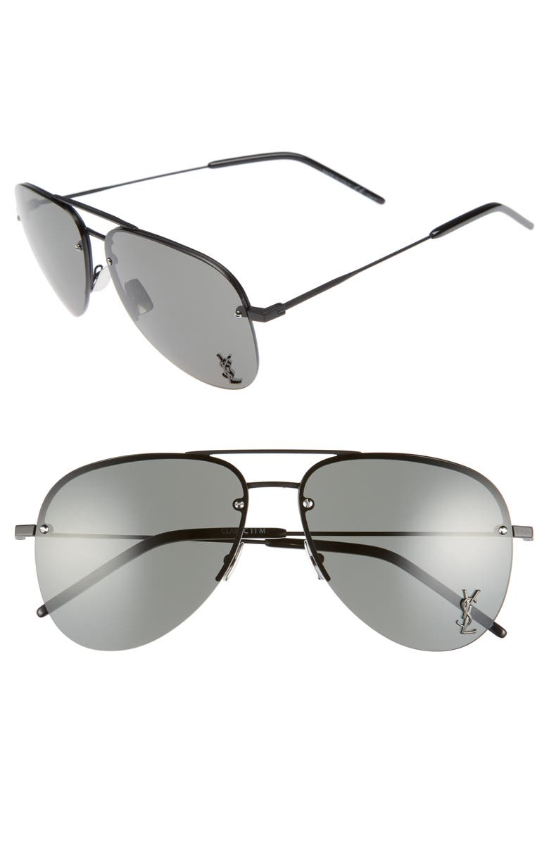 SAINT LAURENT 59mm Aviator Sunglasses, Main, color, BLACK/ GREY
