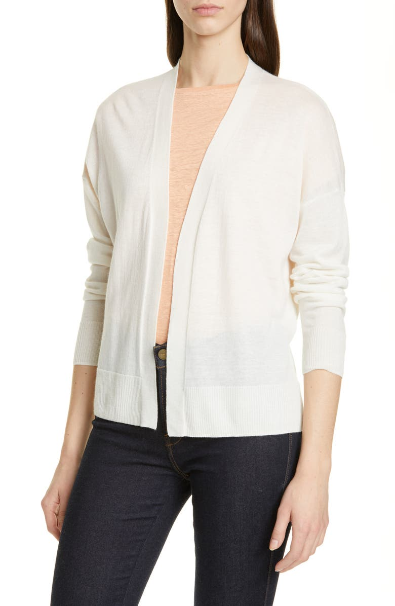 NORDSTROM SIGNATURE Cashmere & Linen High/Low Cardigan, Main, color, 900