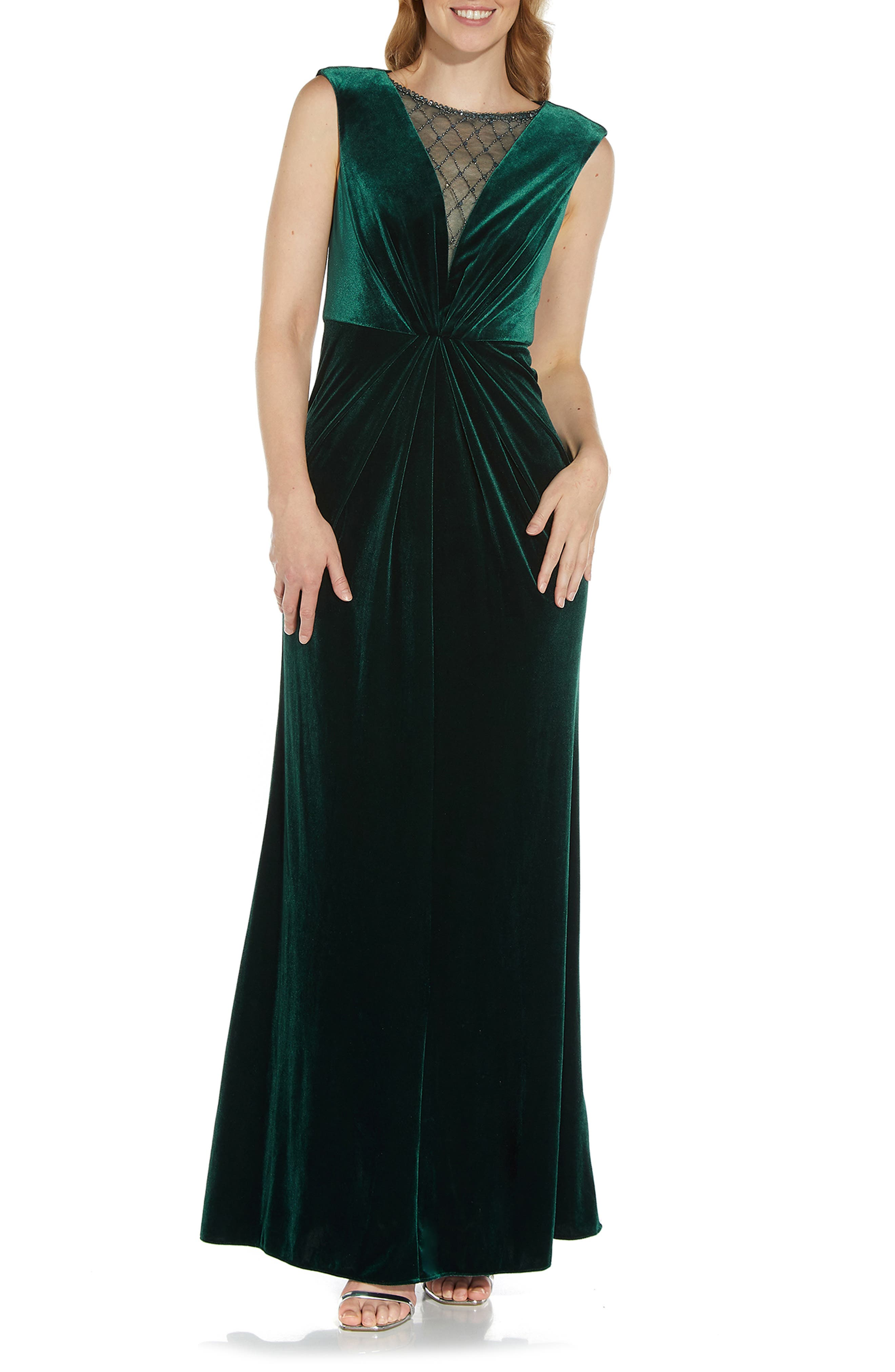 1940s Evening, Prom, Party, Formal, Ball Gowns Womens Adrianna Papell Embellished Neck Velvet Mermaid Gown Size 10 - Green $229.00 AT vintagedancer.com