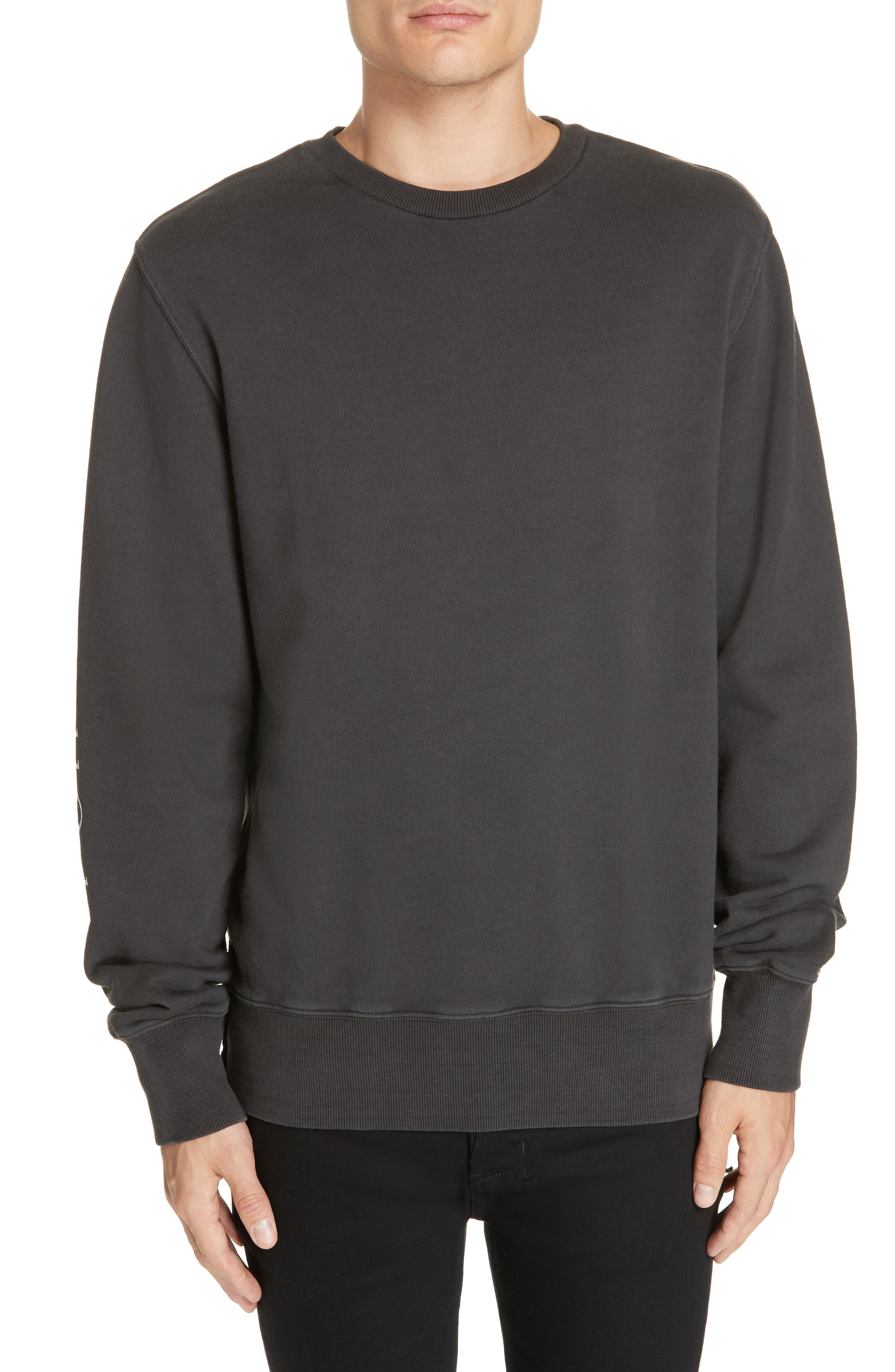 Whurld Order Graphic Sweatshirt, Main, color, BACK TO BLACK