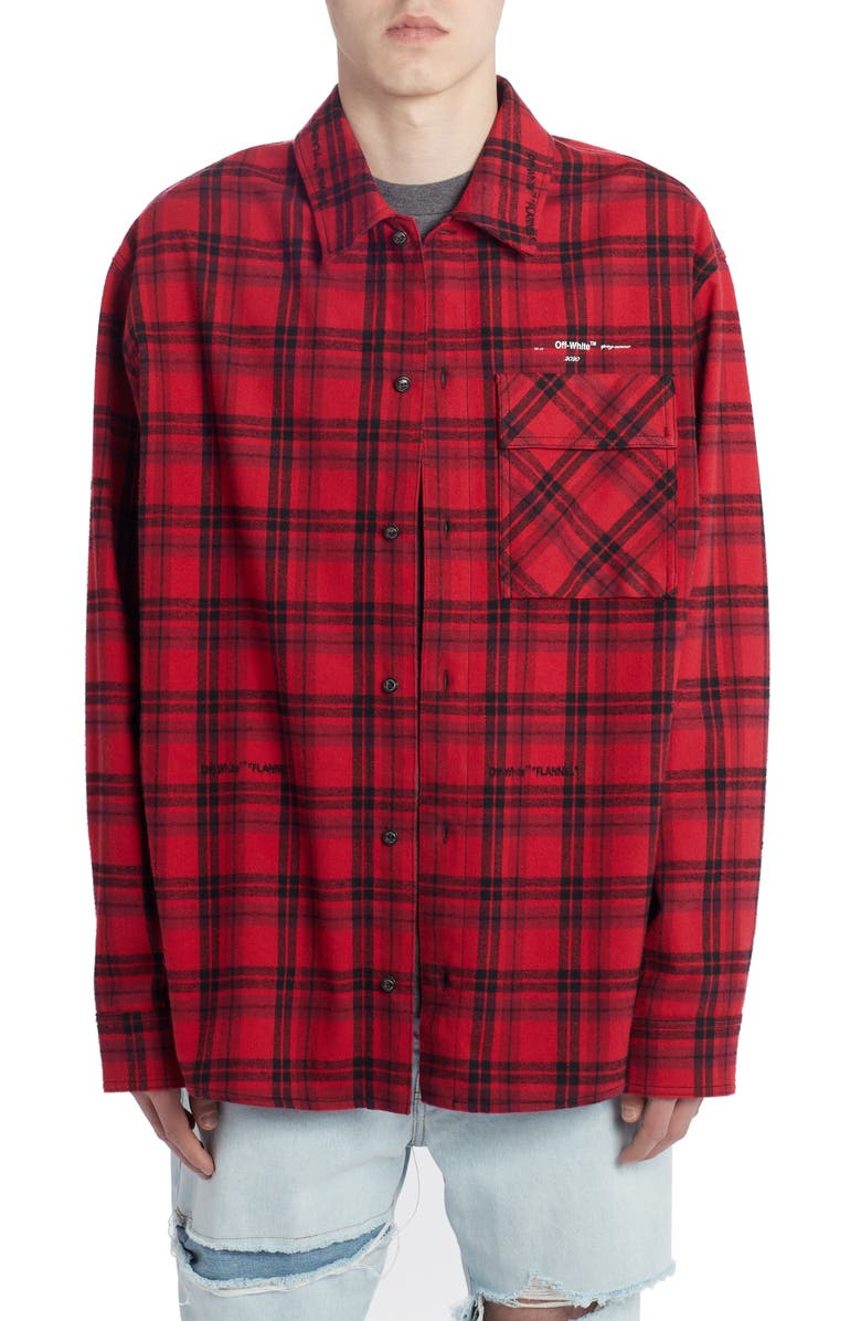 OFF-WHITE Check Flannel Button-Up Shirt, Main, color, RED WHITE