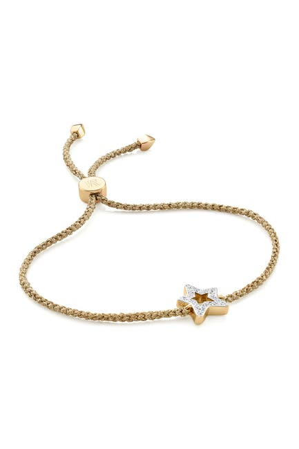Image of MONICA VINADER 18K Gold Plated Sterling Silver Alphabet Star Diamond Friendship Bracelet - LIMITED EDITION - 0.045 ctw