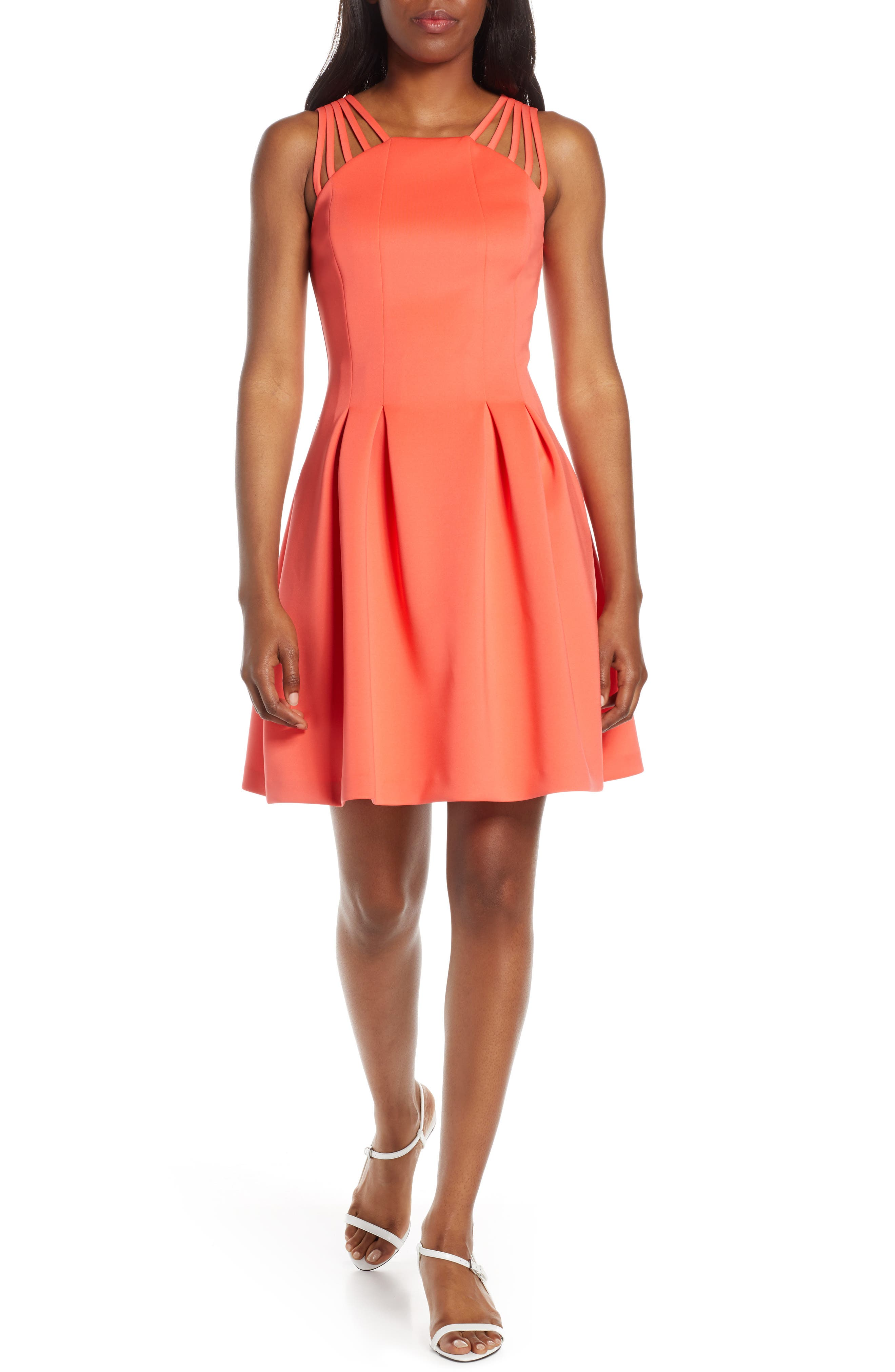 Vince Camuto Fit & Flare Scuba Dress, Pink