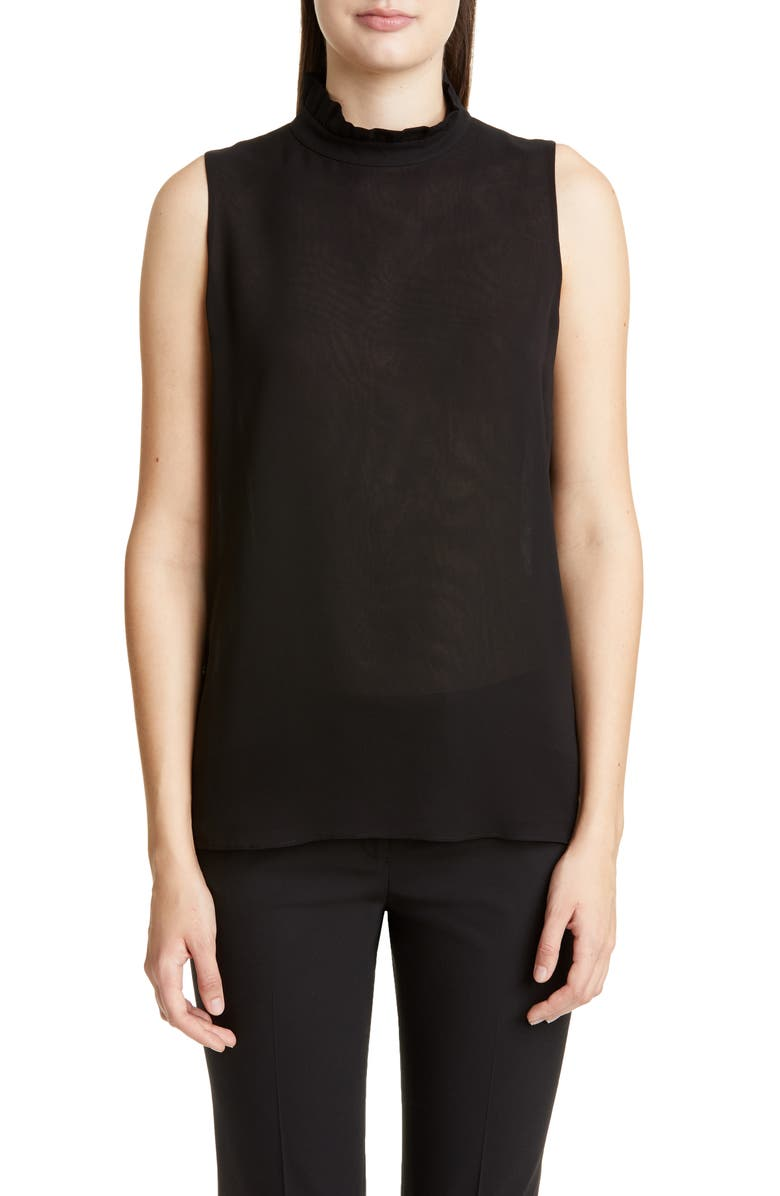 LAFAYETTE 148 NEW YORK Charlene Ruffle Neck Silk Blouse, Main, color, BLACK