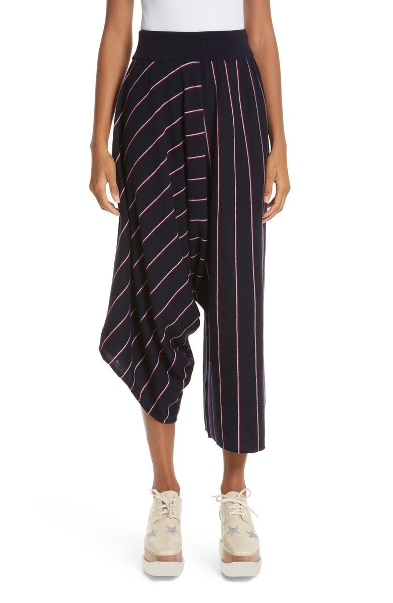 STELLA MCCARTNEY Stripe Wool Knit Crop Pants, Main, color, 400