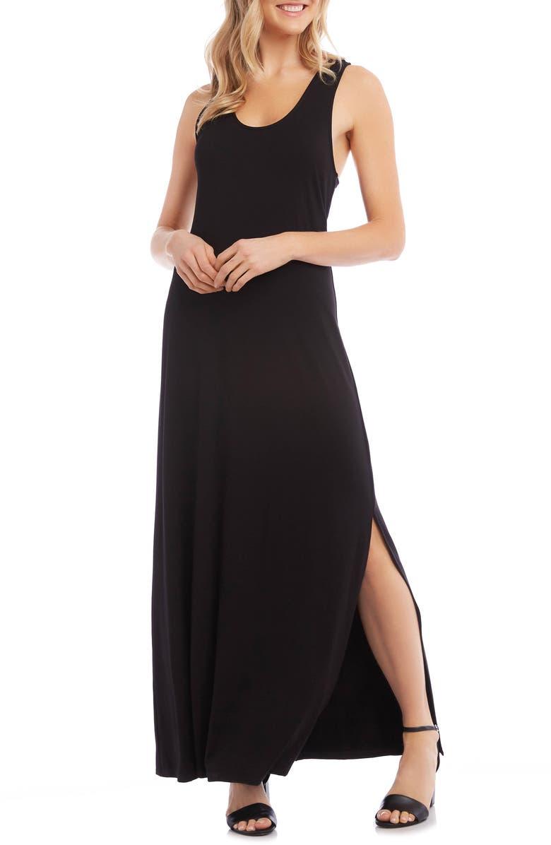 KAREN KANE Cara Cross Back Maxi Dress, Main, color, BLACK