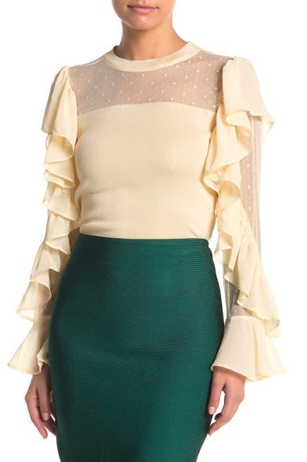Image of Gracia Polka Dot Mesh Ruffle Sleeve Shirt