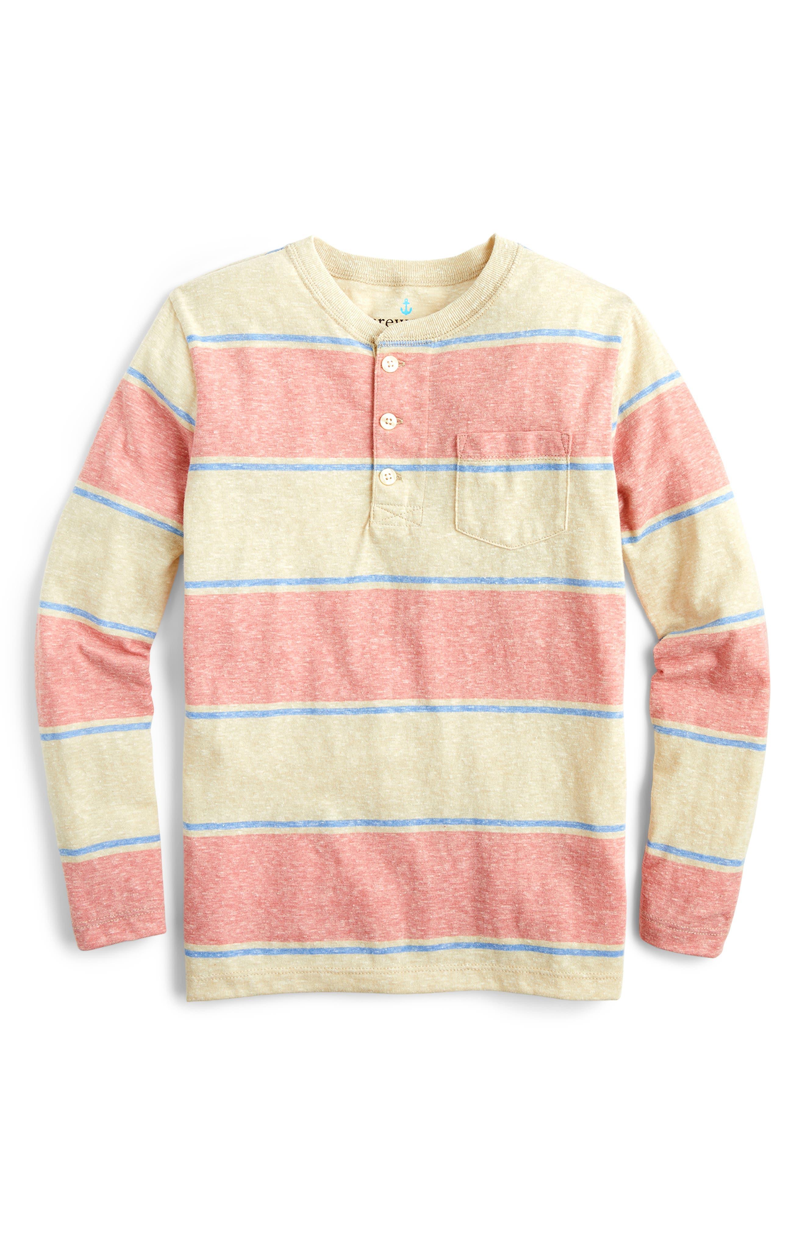 Boys Crewcuts By Jcrew Stripe Long Sleeve Henley Shirt Size 16  Red