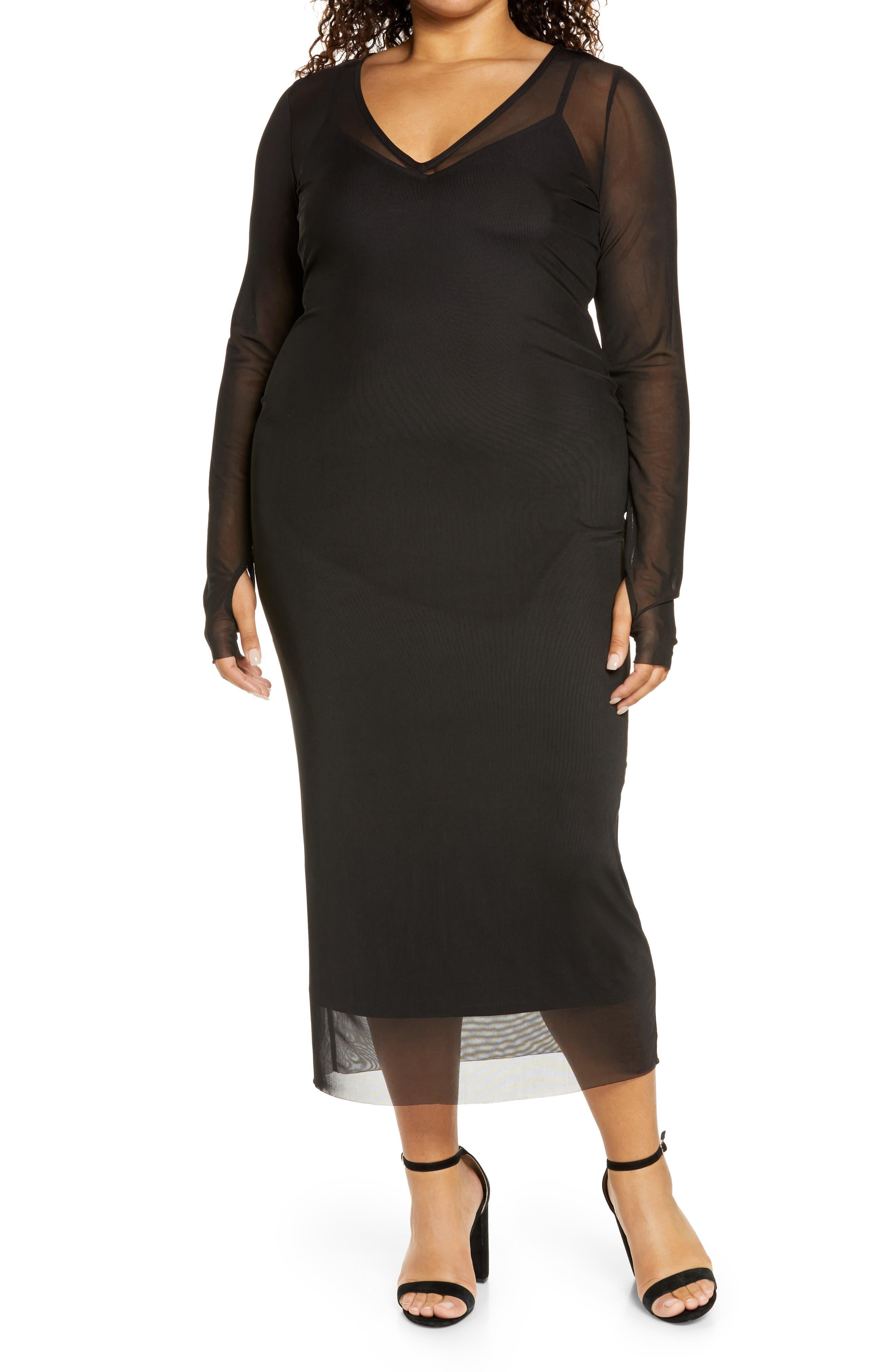 Image of AFRM Azani V-Neck Power Mesh Dress