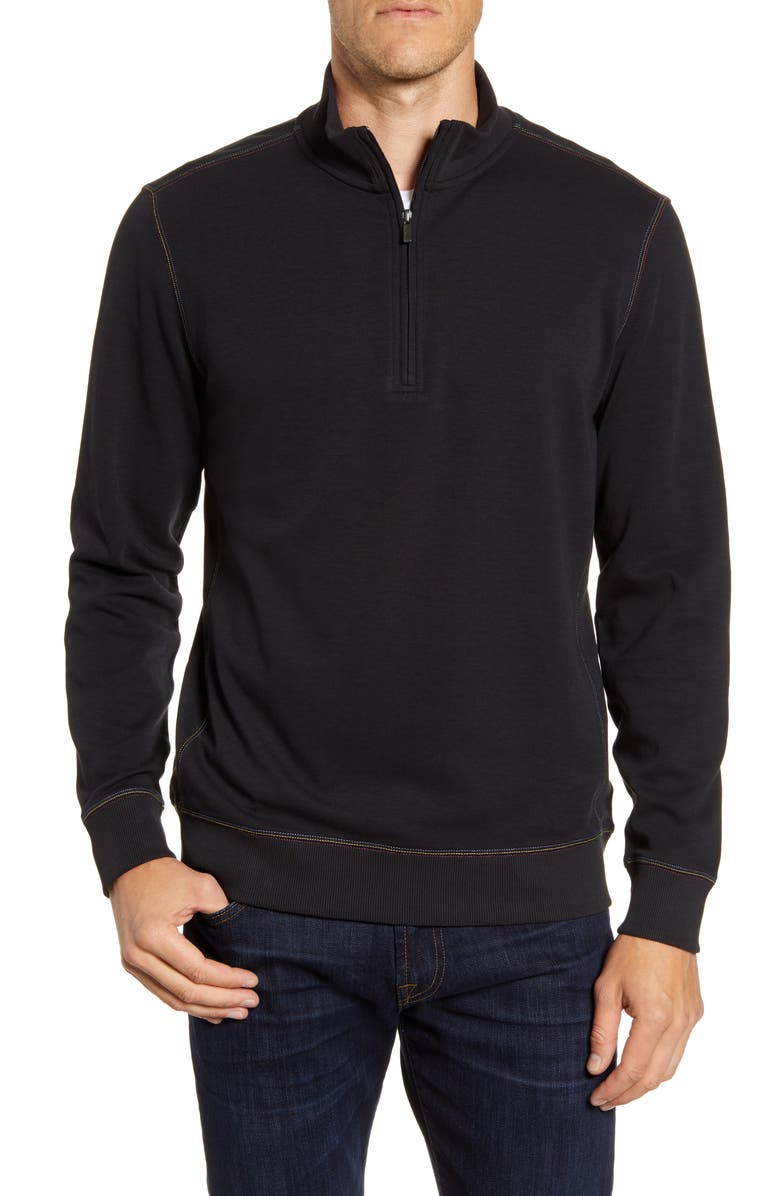 BUGATCHI Regular Fit Quarter Zip Pullover, Main, color, 001