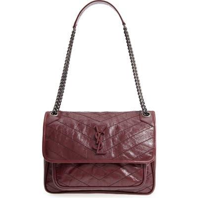 Saint Laurent Medium Niki Leather Shoulder Bag - Burgundy