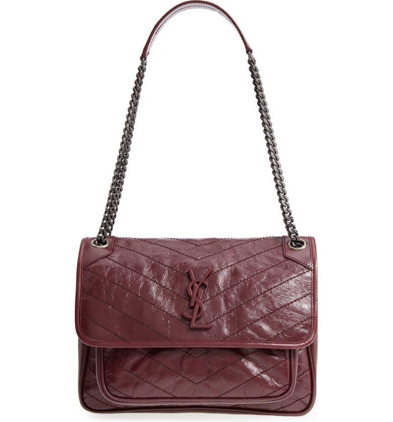 SAINT LAURENT Medium Niki Leather Shoulder Bag, Main, color, ROUGE LEGION
