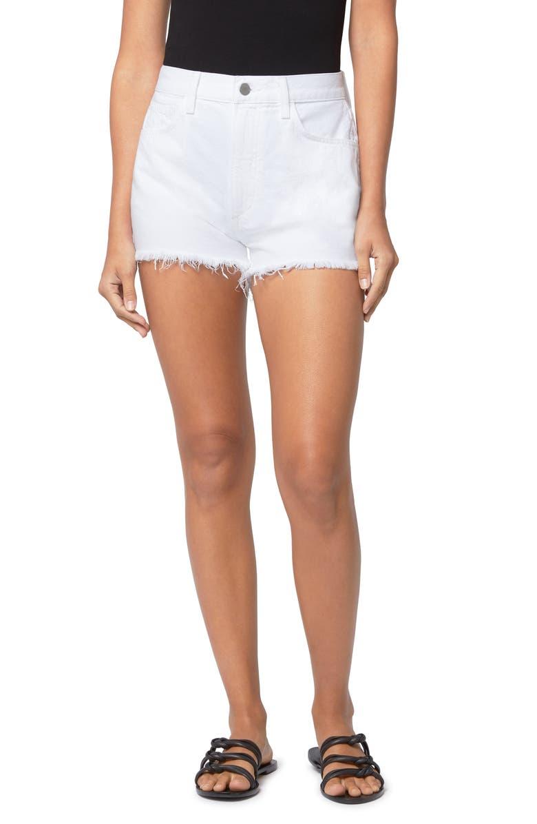 JOE'S High Waist Cutoff Denim Shorts, Main, color, WHITE
