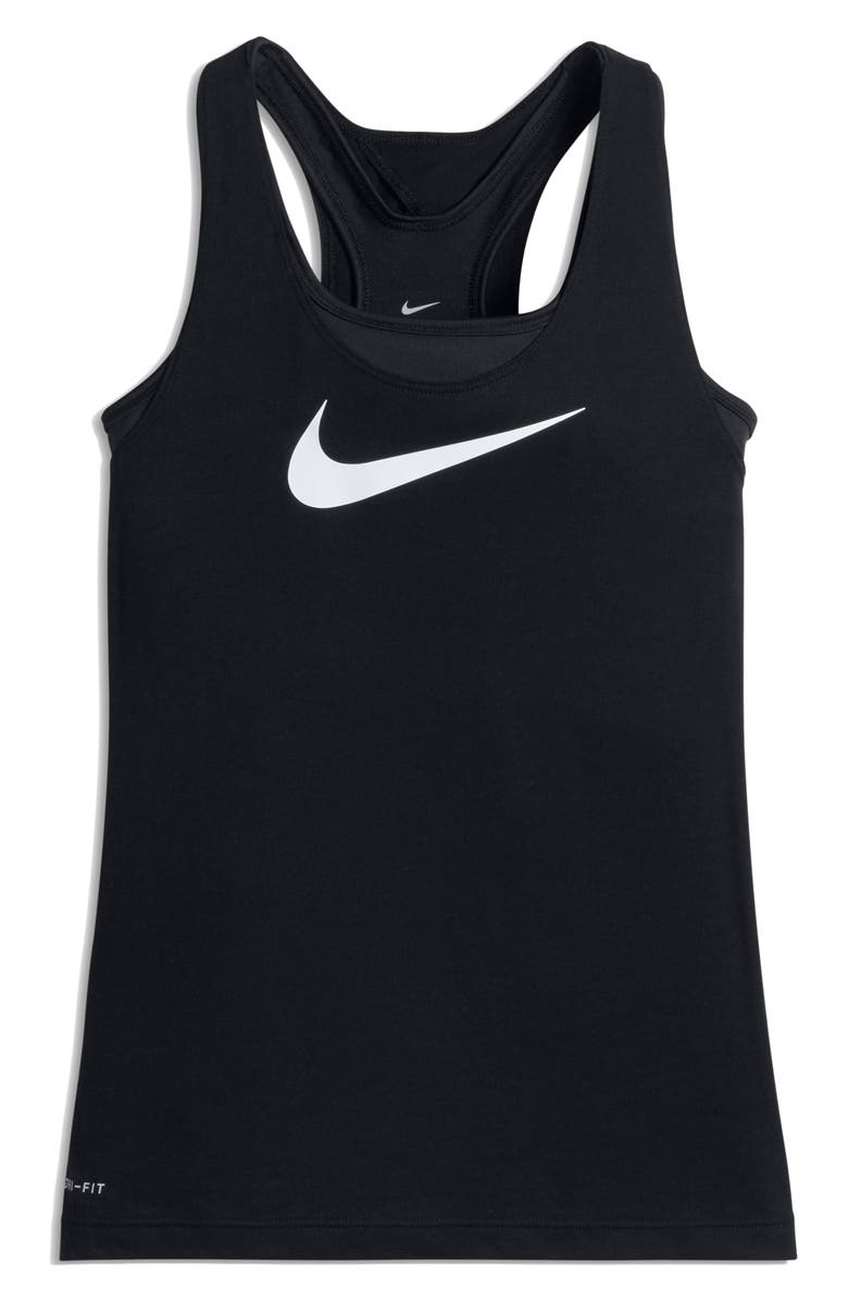 NIKE Breathe Dri-FIT Tank with Bra, Main, color, BLACK/ BLACK/ WHITE