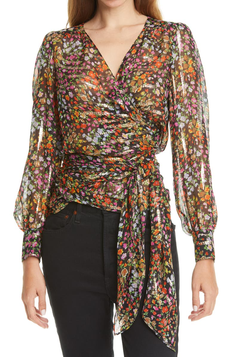 BA&SH Flaure Floral Silk & Metallic Blouse, Main, color, NOIR