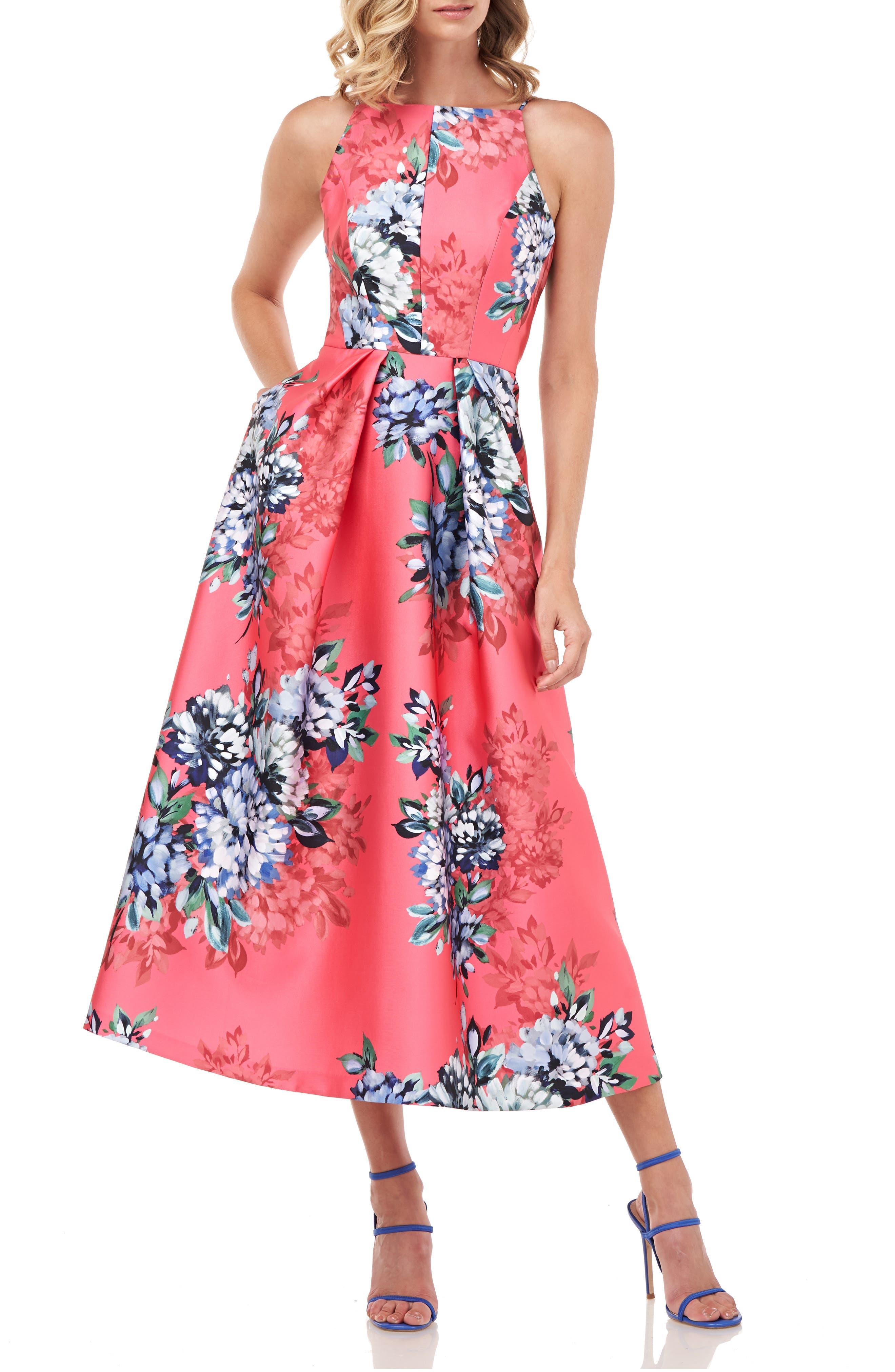 Madeline Floral Halter Neck Cocktail Dress