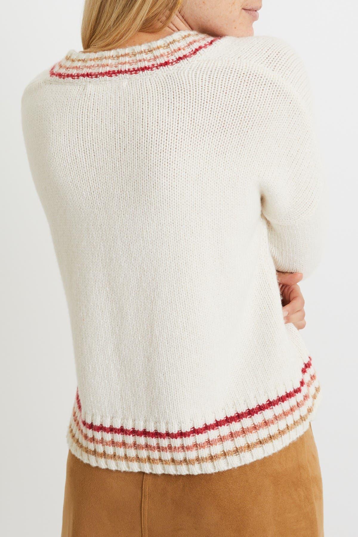 Image of Marine Layer Adalyn Stripe Trim V-Neck Sweater